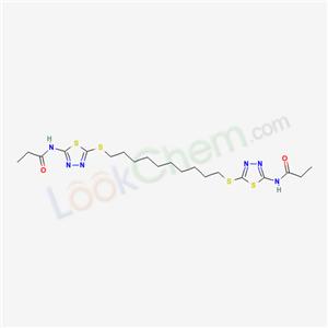 87202-67-3,N-[5-[10-[[5-(propanoylamino)-1,3,4-thiadiazol-2-yl]sulfanyl]decylsulfanyl]-1,3,4-thiadiazol-2-yl]propanamide,