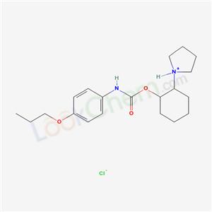 38198-47-9,Carbanilic acid, p-propoxy-, 2-(1-pyrrolidinyl)cyclohexyl ester, hydrochloride, (E)-,