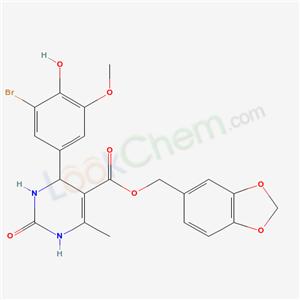 5602-26-6,benzo[1,3]dioxol-5-ylmethyl 4-(3-bromo-4-hydroxy-5-methoxy-phenyl)-6-methyl-2-oxo-3,4-dihydro-1H-pyrimidine-5-carboxylate,