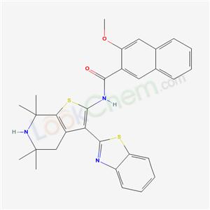 6268-77-5,N-(7-benzothiazol-2-yl-2,2,4,4-tetramethyl-9-thia-3-azabicyclo[4.3.0]nona-7,10-dien-8-yl)-3-methoxy-naphthalene-2-carboxamide,