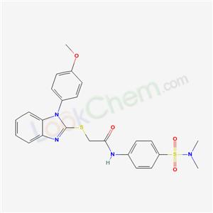 5551-50-8,N-[4-(dimethylsulfamoyl)phenyl]-2-[1-(4-methoxyphenyl)benzoimidazol-2-yl]sulfanyl-acetamide,