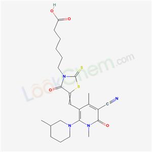 7063-30-1,6-[5-[[5-cyano-1,4-dimethyl-2-(3-methyl-1-piperidyl)-6-oxo-pyridin-3-yl]methylidene]-4-oxo-2-sulfanylidene-thiazolidin-3-yl]hexanoic acid,