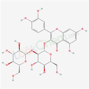 27459-71-8,3-[(2S,3R,4S,5R,6R)-4,5-dihydroxy-6-(hydroxymethyl)-3-[(2S,3R,4S,5R,6R)-3,4,5-trihydroxy-6-(hydroxymethyl)oxan-2-yl]oxy-oxan-2-yl]oxy-2-(3,4-dihydroxyphenyl)-5,7-dihydroxy-chromen-4-one,