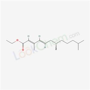 65733-18-8,S-Hydroprene (JAN),ethyl (2E,4E,7S)-3,7,11-trimethyldodeca-2,4-dienoate;Zoecon RF-316;ZR 2006;Hydroprene (S)-form;EPA Pesticide Chemical Code 128966;2,4-Dodecadienoic acid,3,7,11-trimethyl-,ethyl ester,(2E,4E,7S)-;S-Hydroprene;Ethyl (2E,4E,7S)-trimethyl-2,4-dodecadienoate;2,4-Dodecadienoic acid, 3,7,11-trimethyl-, ethyl ester, (S-(E,E))-;(7S)-Hydroprene;ethyl (7S)-3,7,11-trimethyldodeca-2,4-dienoate;
