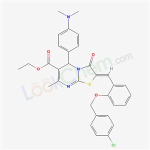5672-02-6,ethyl (8Z)-8-[[2-[(4-chlorophenyl)methoxy]phenyl]methylidene]-2-(4-dimethylaminophenyl)-4-methyl-9-oxo-7-thia-1,5-diazabicyclo[4.3.0]nona-3,5-diene-3-carboxylate,