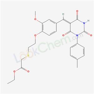 5993-03-3,ethyl 2-[2-[2-methoxy-4-[(Z)-[1-(4-methylphenyl)-2,4,6-trioxo-1,3-diazinan-5-ylidene]methyl]phenoxy]ethylsulfanyl]acetate,