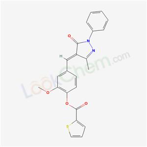 6191-79-3,[2-methoxy-4-[(E)-(3-methyl-5-oxo-1-phenyl-pyrazol-4-ylidene)methyl]phenyl] thiophene-2-carboxylate,