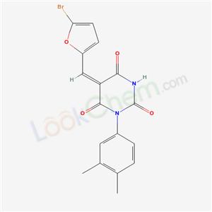 6352-45-0,(5E)-5-[(5-bromo-2-furyl)methylidene]-1-(3,4-dimethylphenyl)-1,3-diazinane-2,4,6-trione,