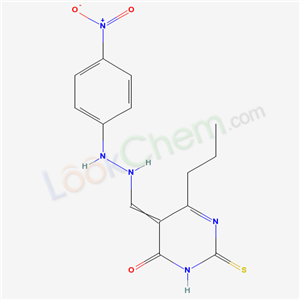 92295-35-7,5-[[2-(4-nitrophenyl)hydrazinyl]methylidene]-6-propyl-2-sulfanylidene-pyrimidin-4-one,
