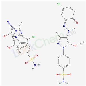 93267-57-3,Chromate(1-), bis(3-(4-((5-chloro-2-(hydroxy-kappaO)phenyl)azo-kappaN1)-4,5-dihydro-3-methyl-5-(oxo-kappaO)-1H-pyrazol-1-yl)benzenesulfonamidato(2-))-, hydrogen,
