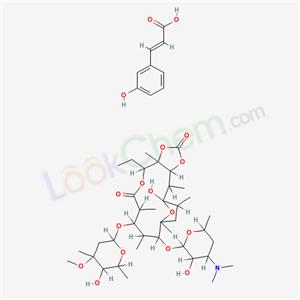 59246-32-1,Erythromycin, 9-deoxo-6,9-epoxy-9-hydroxy-, cyclic 11,12-carbonate, (9S)-, 3-(3-hydroxyphenyl)-2-propenoate (salt),