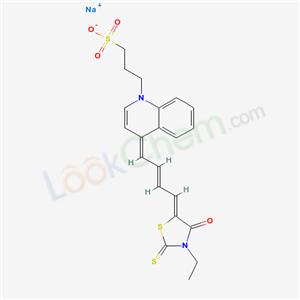 CAS NO:68107-18-6 1(4H)-Quinolinepropanesulfonic acid,4-[4-(3-ethyl-4-oxo-2-thioxo-5- thiazolidinylidene)-2-butenylidene]-,sodium salt  Molecular Structure