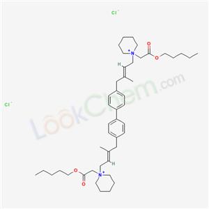 55618-70-7,pentyl 2-[1-[(E)-3-methyl-4-[4-[4-[(E)-2-methyl-4-[1-(pentoxycarbonylmethyl)-3,4,5,6-tetrahydro-2H-pyridin-1-yl]but-2-enyl]phenyl]phenyl]but-2-enyl]-3,4,5,6-tetrahydro-2H-pyridin-1-yl]acetate dichloride,
