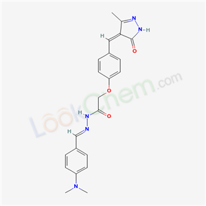 Molecular Structure of 107044-95-1 (Acetic acid, (4-((1,5-dihydro-3-methyl-5-oxo-4H-pyrazol-4-ylidene)methyl)phenoxy)-, ((4-(dimethylamino)phenyl)methylene)hydrazide)