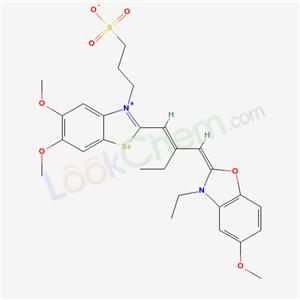 67014-91-9,3-[8-[(E)-2-[(E)-(3-ethyl-5-methoxy-benzooxazol-2-ylidene)methyl]but-1-enyl]-3,4-dimethoxy-9-selena-7-azoniabicyclo[4.3.0]nona-1,3,5,7-tetraen-7-yl]propane-1-sulfonate,