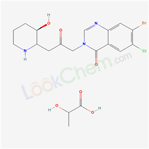 Molecular Structure of 82186-71-8 (7-bromo-6-chloro-3-[3-[(3R)-3-hydroxy-2-piperidyl]-2-oxo-propyl]quinazolin-4-one; 2-hydroxypropanoic acid)