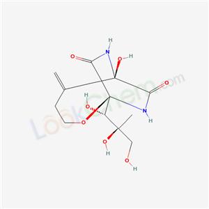 38129-37-2,WS-4545,Bicozamicina [INN-Spanish];6-hydroxy-5-methylidene-1-(1,2,3-trihydroxy-2-methyl-propyl)-2-oxa-7,9-diazabicyclo[4.2.2]decane-8,10-dione;Bicozamycin;(1R*,6S*)-6-Hydroxy-5-methylene-1-((1R*,2R*)-1,2,3-trihydroxy-2-methylpropyl)-2-oxa-7,9-diazabicyclo(4.2.2)decan-8,10-dione;Aizumycin;(1S,6R)-6-hydroxy-5-methylidene-1-(1,2,3-trihydroxy-2-methyl-propyl)-2-oxa-7,9-diazabicyclo[4.2.2]decane-8,10-dione;(1S,6R)-6-hydroxy-5-methylidene-1-[(1S,2S)-1,2,3-trihydroxy-2-methyl-propyl]-2-oxa-7,9-diazabicyclo[4.2.2]decane-8,10-dione;WS 4545;Bicozamycin [INN];6-Hydroxy-5-methylene-1-(1,2,3-trihydroxy-2-methylpropyl)-2-oxa-7,9-diazabicyclo[4.2.2]decane-8,10-dione;Antibiotic WS 4545;Bacteron;CGP 3543/E;Bicozamycinum [INN-Latin];Bicozamycine [INN-French];Antibiotic 5879;Bacfeed;Bicyclomycin;2-Oxa-7,9-diazabicyclo[4.2.2]decane-8,10- dione,6-hydroxy-5-methylene-1-[(1S,2S)-1,- 2,3-trihydroxy-2-methylpropyl]-,(1S,6R)-;