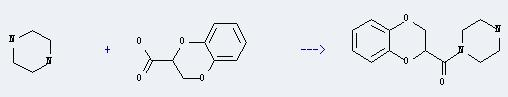 1,4-Benzodioxin-2-carboxylicacid, 2,3-dihydro- can react with piperazine to produce 1-(2,3-dihydro-benzo[1,4]dioxine-2-carbonyl)-piperazine