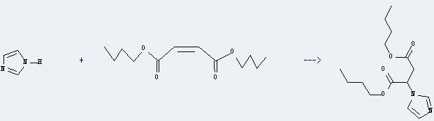 Dibutyl maleate can react with 1H-imidazole to get 2-imidazol-1-yl-succinic acid dibutyl ester