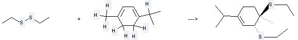 alpha-Terpinene can be used to produce 3,4-bis-ethylsulfanyl-1-isopropyl-4-methyl-cyclohexene at the temperature of 20 °C