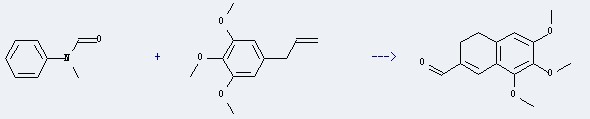 The Elemicin could react with N-methyl-N-phenyl-formamide to obtain the 6,7,8-Trimethoxy-3,4-dihydro-2-naphthalincarbaldehyd