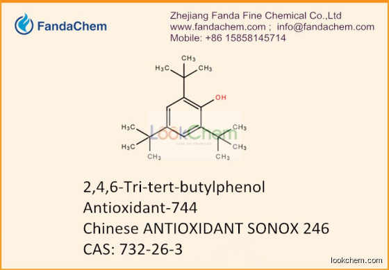 Leading supplier and exporter of  2,4,6-Tritertbutyl phenol, 2,4,6-Tri-tert-butylphenol,Antioxidant-744,ANTIOXIDANT SONOX 246, CAS: 732-26-3 in China, Zhejiang Fanda Fine Chemical Co.,Ltd