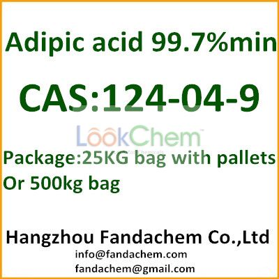 Adipic acid 99.7%, hexanedioic acid, acide adipique, package: 25KG or 500KG packing,used in PA66 and unsaturated polyester resin (UPR) from FandaChem