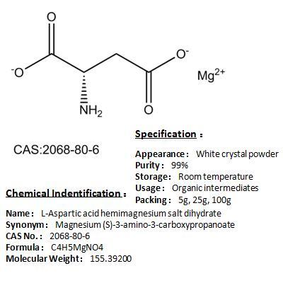 Best price of L-Aspartic acid hemimagnesium salt dihydrate 2068-80-6