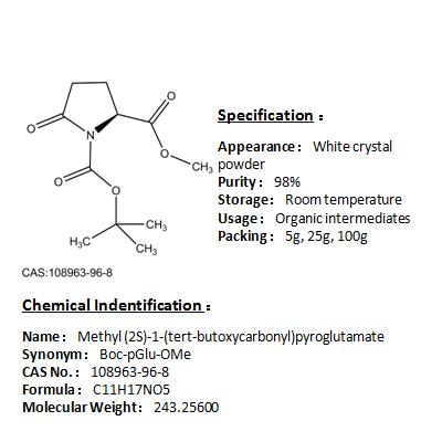 Hight quality of Methyl (2S)-1-(tert-butoxycarbonyl)pyroglutamate 108963-96-8