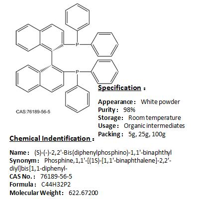 In stock (S)-(-)-2,2'-Bis(diphenylphosphino)-1,1'-binaphthyl 76189-56-5