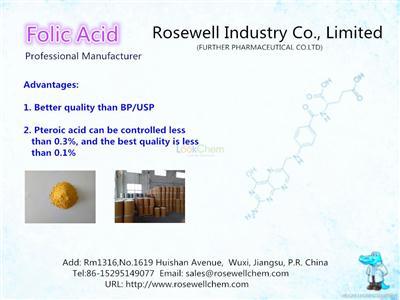 Folic Acid super manufacturer/pharma,food, feed grade