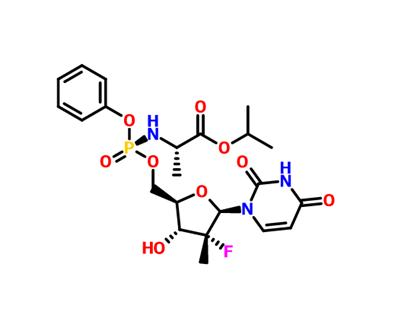 L-Alanine, N-[[P(S),2'R]-2'-deoxy-2'-fluoro-2'-methyl-P-phenyl-5'-uridylyl]-, 1-methylethyl ester