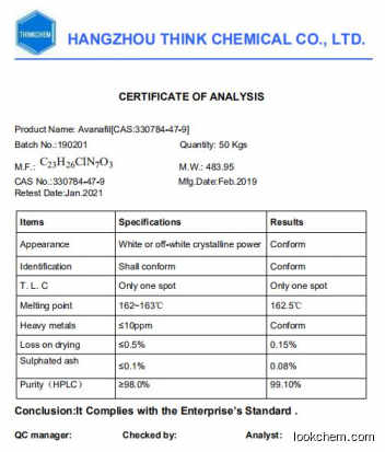 Supply Avanafil from chinese factory
